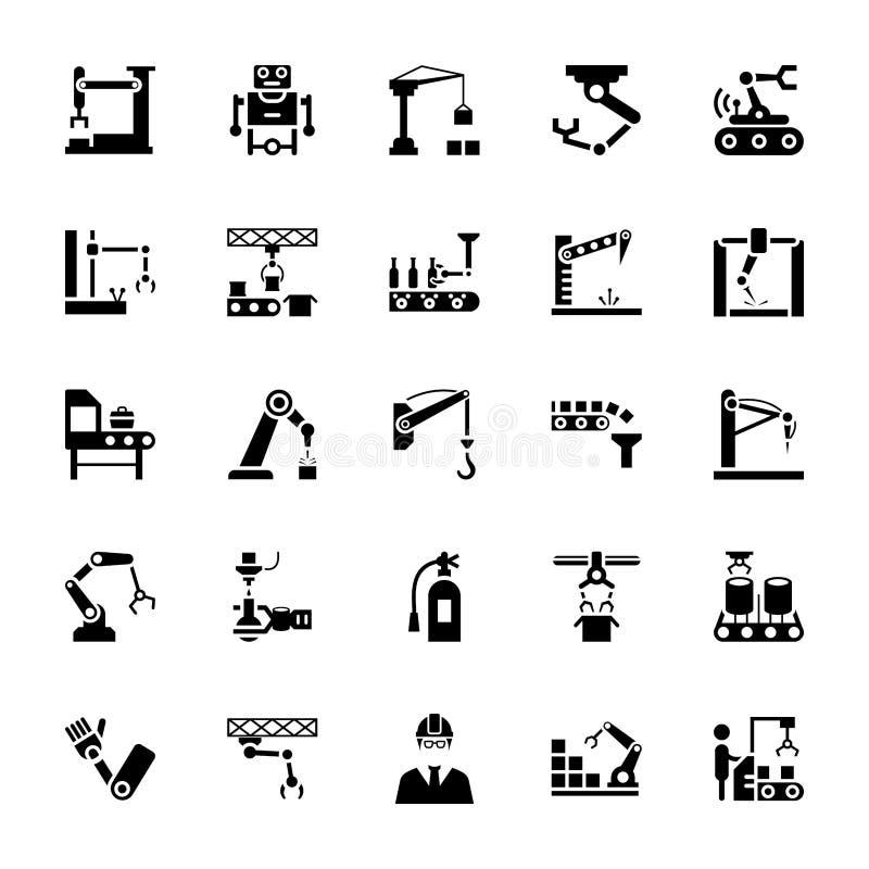 Iconos del vector del Glyph de la robótica de la fabricación libre illustration