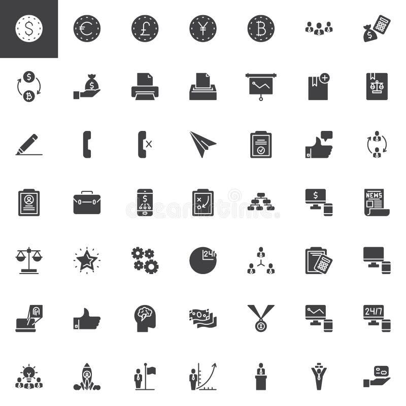 Iconos del vector del negocio y de las finanzas fijados stock de ilustración