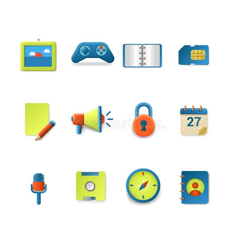Iconos del vector para el interfaz móvil del app: nota sd del altavoz de la foto libre illustration