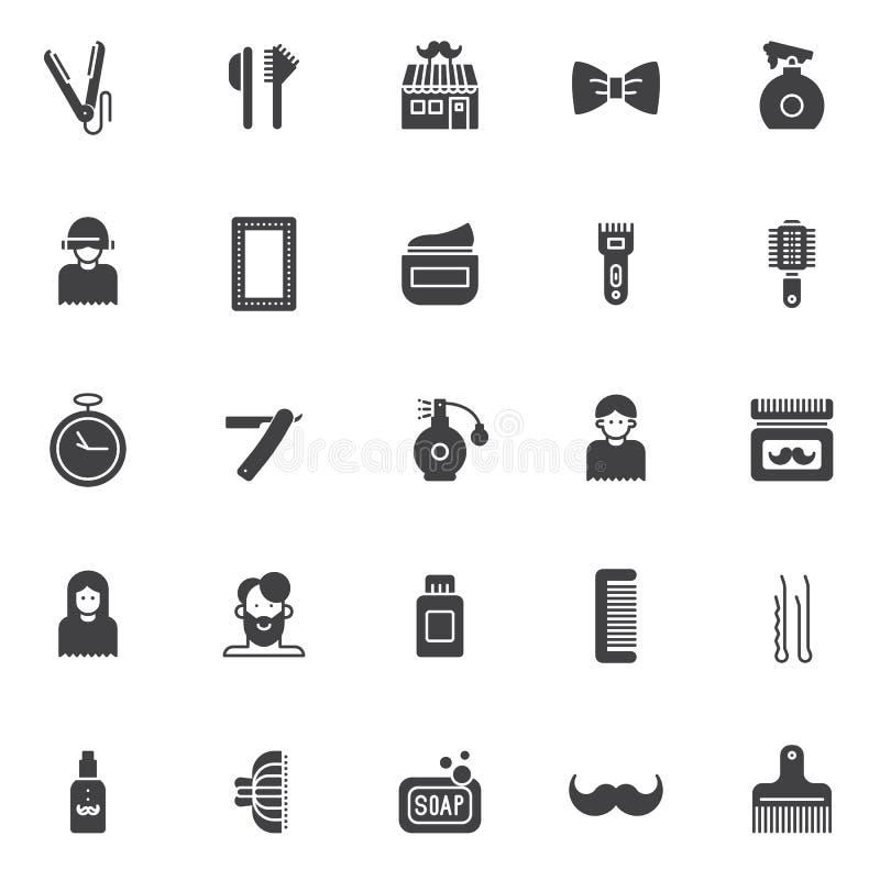 Iconos del vector del peluquero fijados stock de ilustración