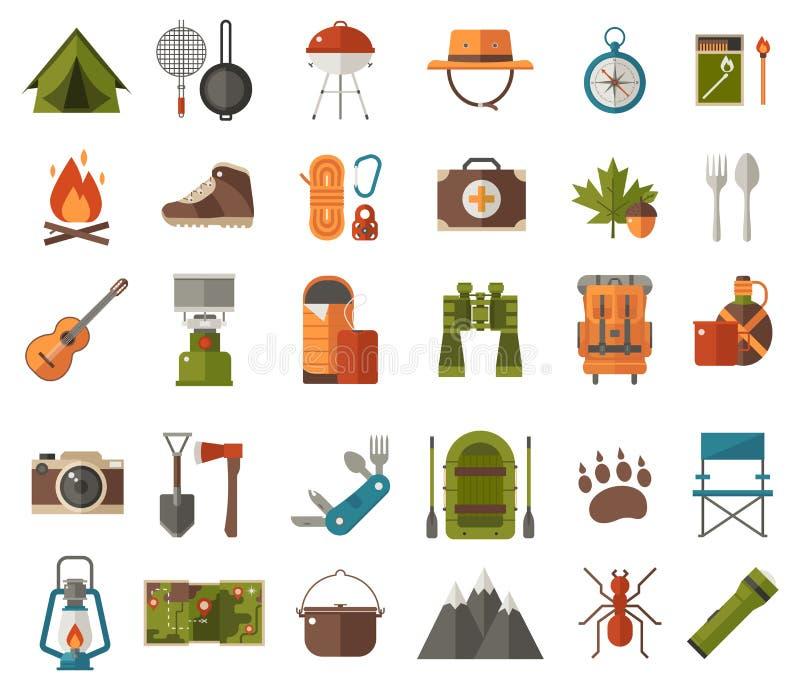 Iconos del vector que acampan stock de ilustración