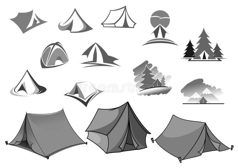 Iconos del vector que acampan de la tienda del campo en bosque stock de ilustración