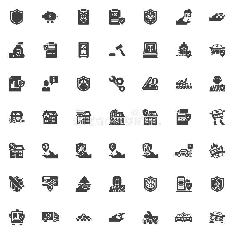 iconos del vector del seguro fijados stock de ilustración