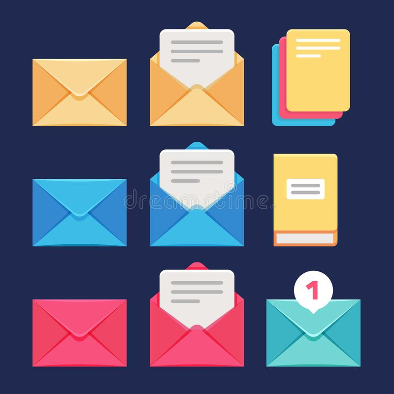 Iconos del vector del sobre, del correo electrónico y de la letra Correspondencia postal y símbolos del mms stock de ilustración