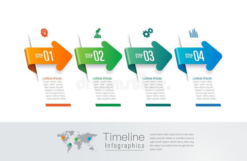 Iconos del vector y del m?rketing del dise?o del infographics de la cronolog?a, concepto del negocio con 4 opciones, pasos o proc libre illustration