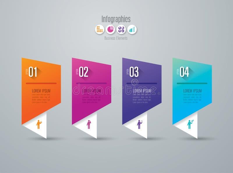 Iconos del vector y del negocio del diseño de Infographics con 4 opciones stock de ilustración