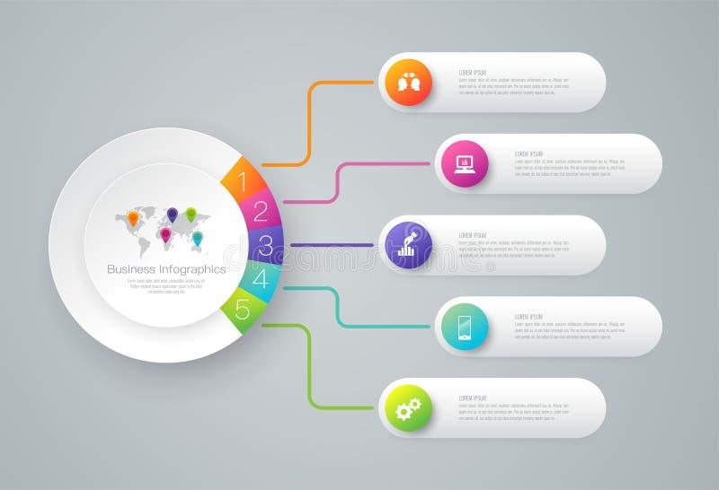 Iconos del vector y del negocio del diseño de Infographics con 5 opciones ilustración del vector