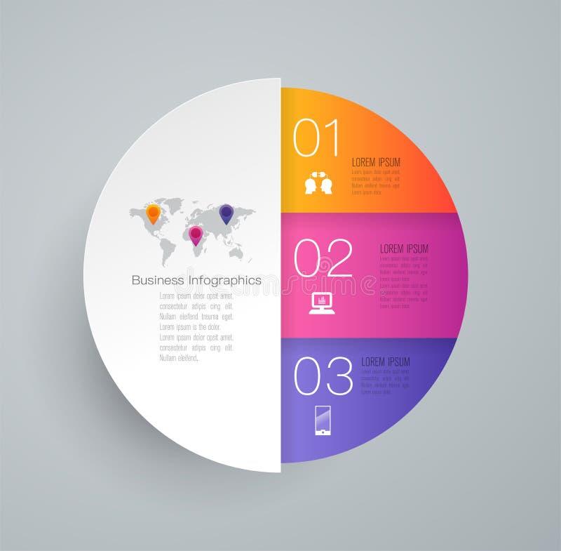 Iconos del vector y del negocio del diseño de Infographics con 3 opciones ilustración del vector