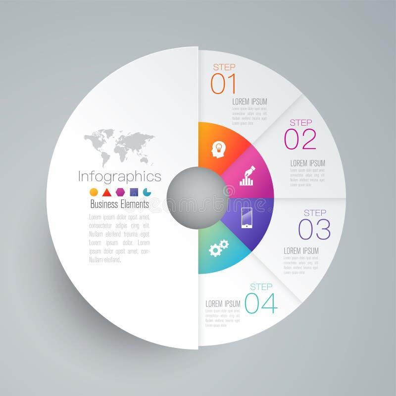 Iconos del vector y del negocio del diseño de Infographics con 4 opciones ilustración del vector