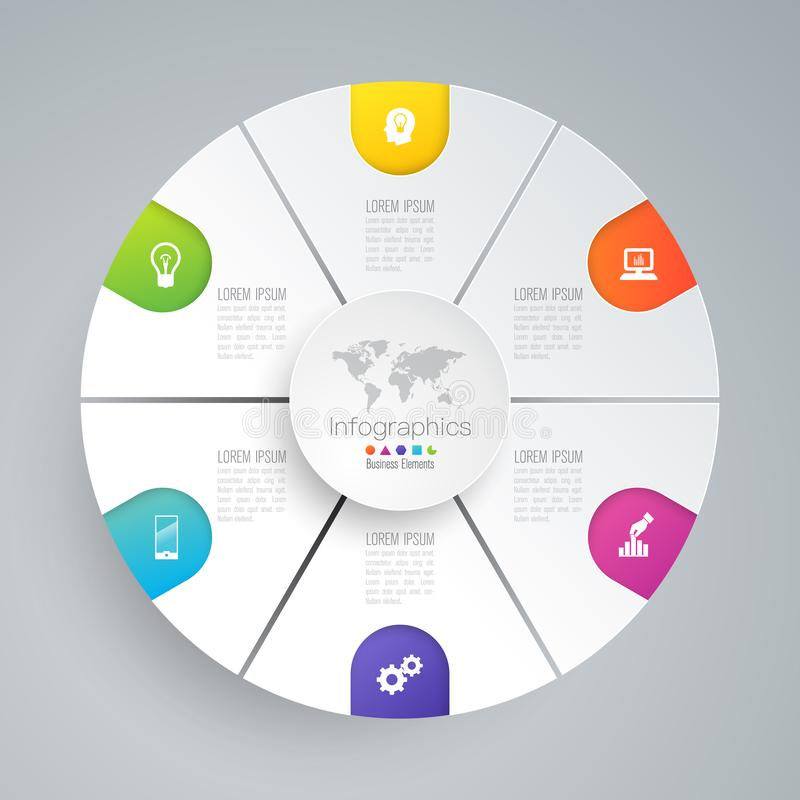 Iconos del vector y del negocio del diseño de Infographics con 6 opciones ilustración del vector