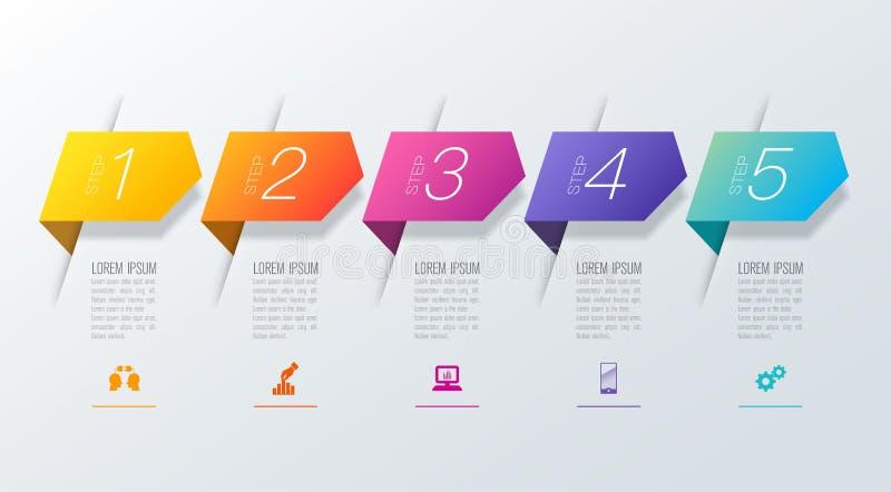 Iconos del vector y del negocio del diseño del infographics de la cronología con 5 opciones stock de ilustración