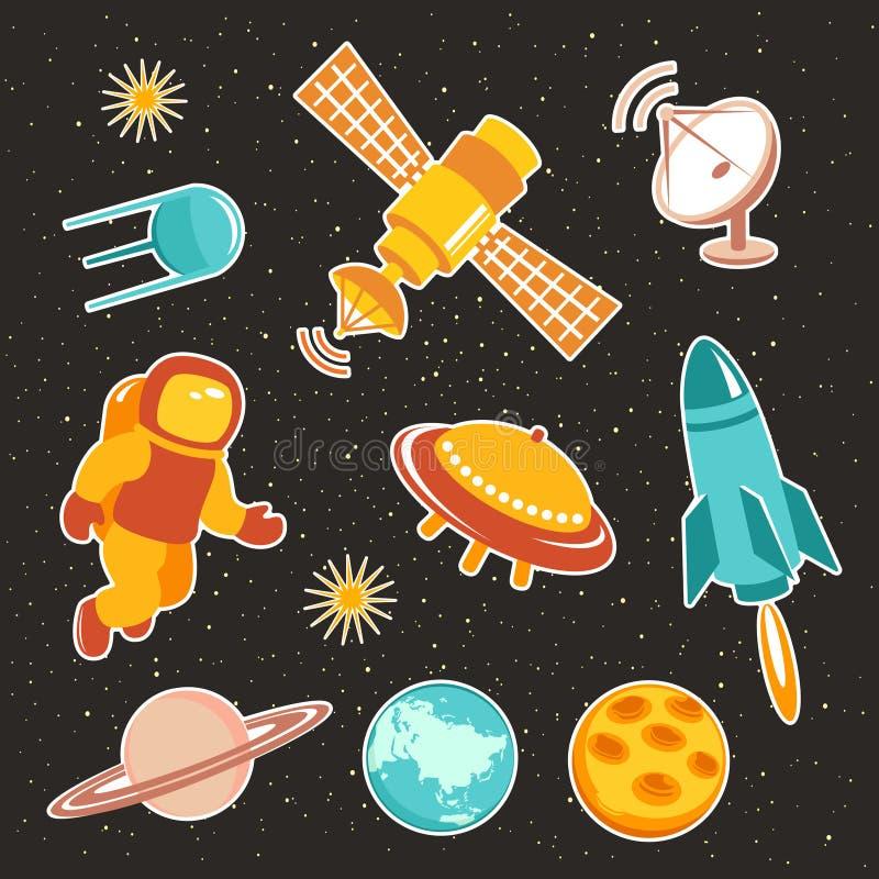 Iconos del vehículo espacial con los cohetes y el astronauta de los planetas libre illustration