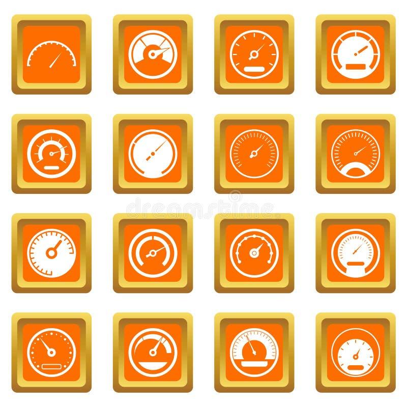 Iconos del velocímetro fijados anaranjados ilustración del vector