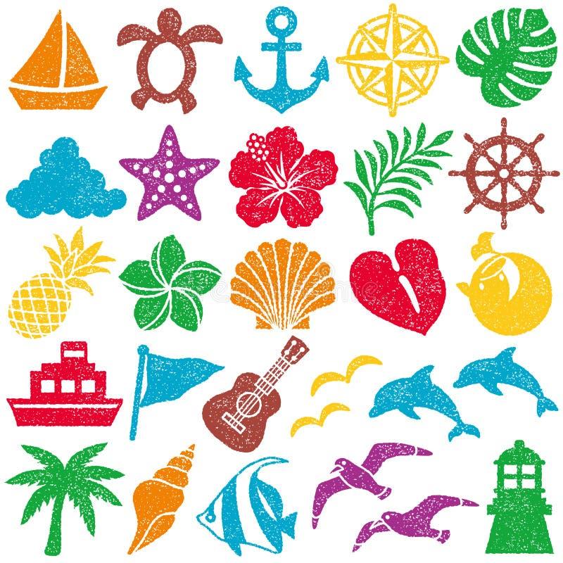 Iconos del verano Conjunto del sello ilustración del vector