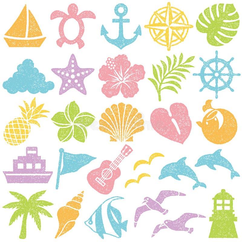 Iconos del verano Conjunto del sello stock de ilustración