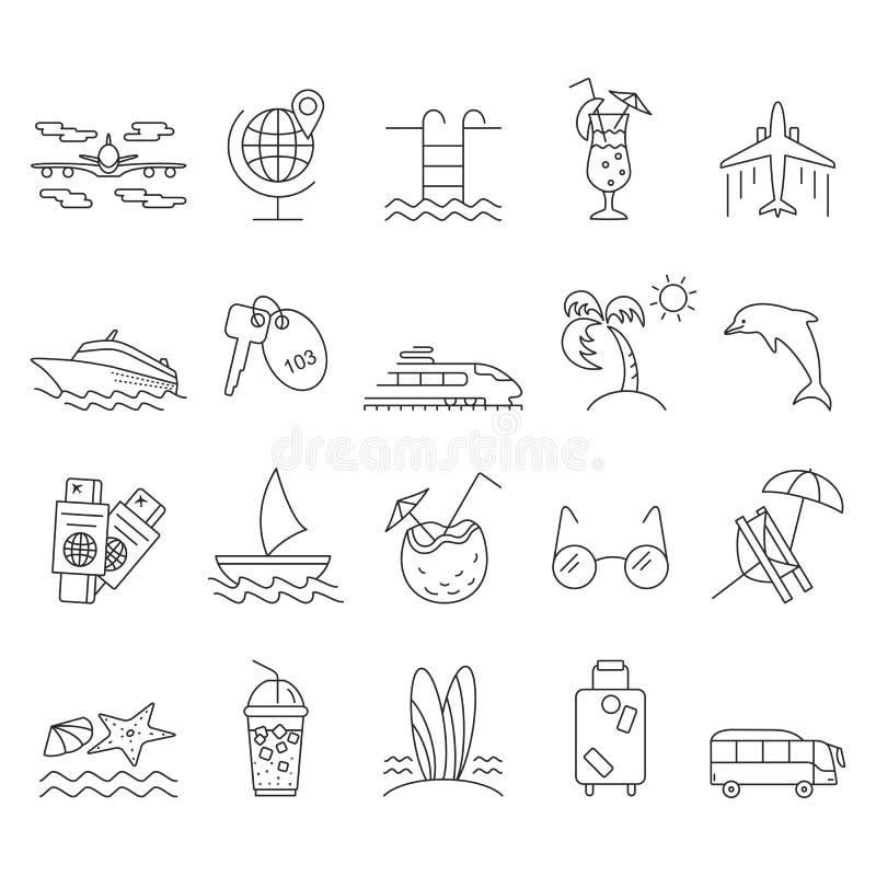 Iconos del verano e iconos de la playa ilustración del vector