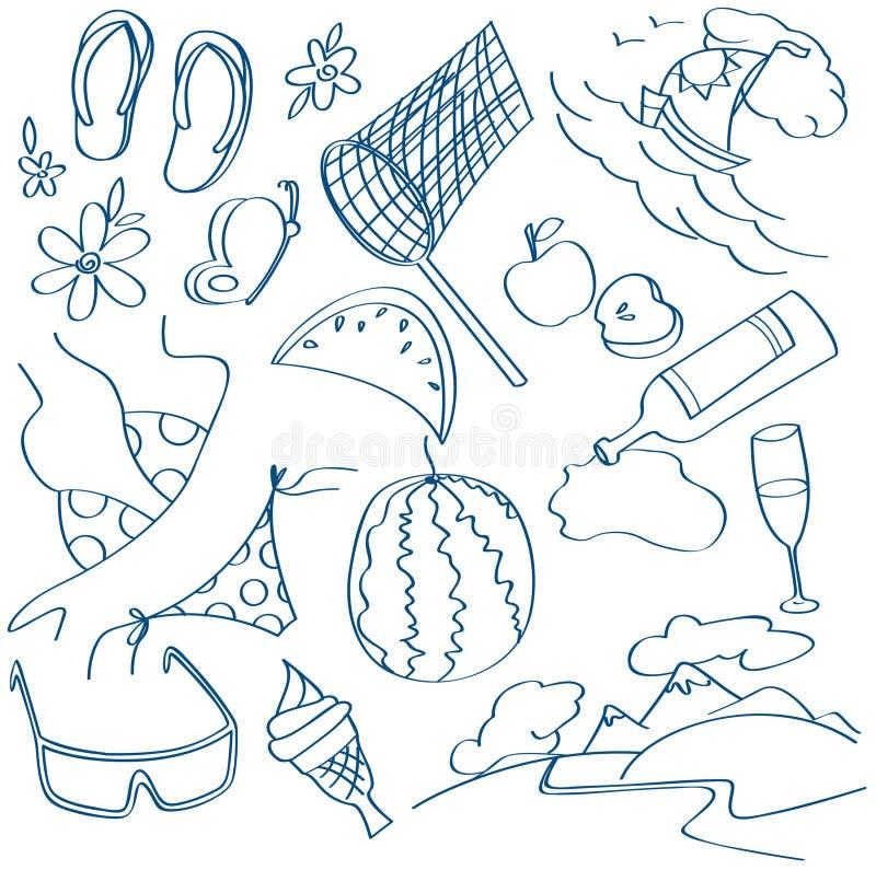 Iconos del verano fijados libre illustration