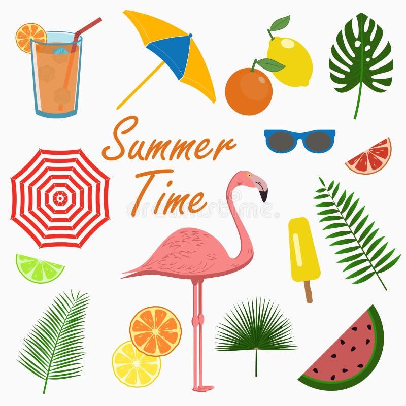 Iconos del verano fijados - flamenco Elementos para las tarjetas del diseño, cartel Vector stock de ilustración
