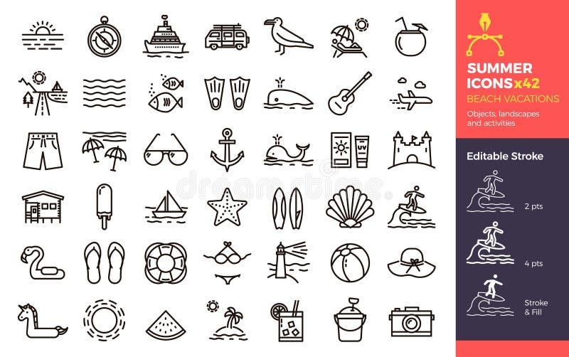 Iconos del verano, vacaciones de la playa Paisajes y actividades de los objetos libre illustration