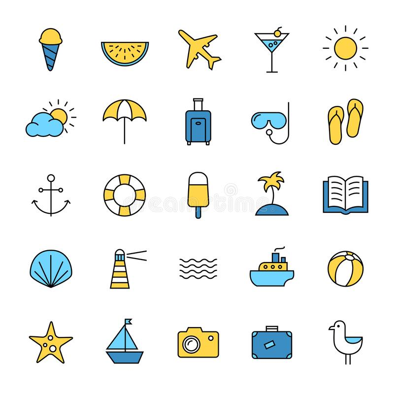 Iconos del verano y del viaje fijados stock de ilustración