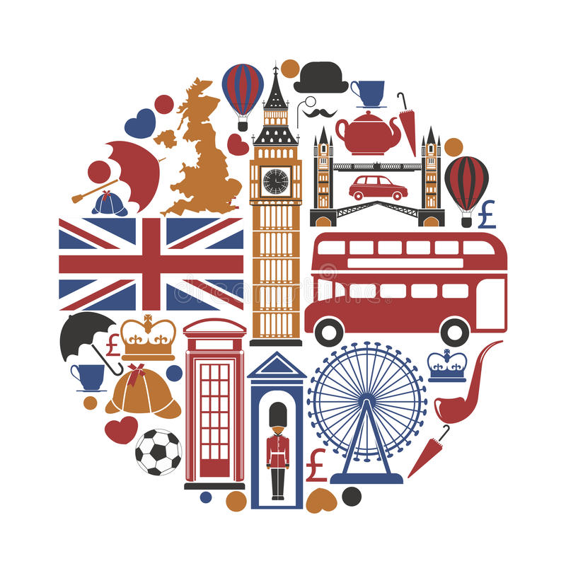 Iconos del viaje BRITÁNICO de Inglaterra y cartel de visita turístico de excursión de las señales del vector libre illustration