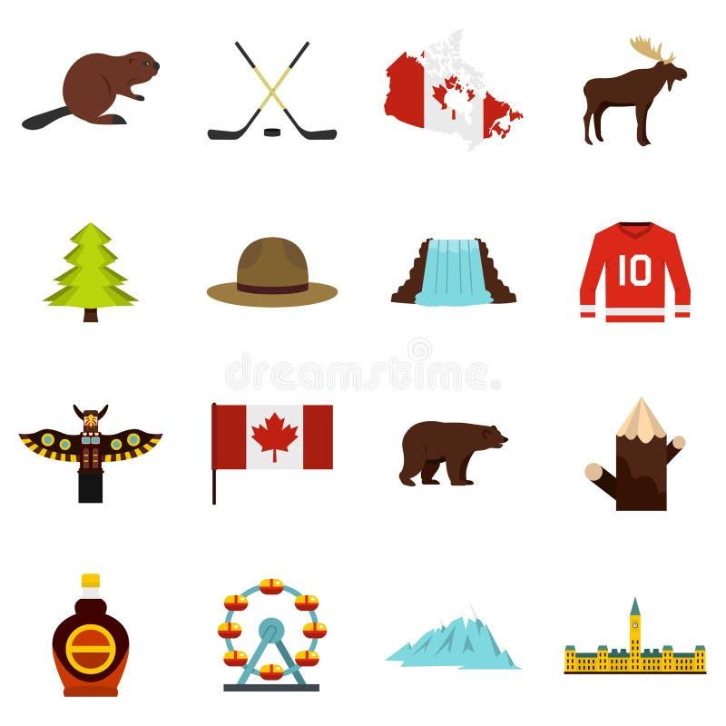 Iconos del viaje de Canadá fijados en estilo plano ilustración del vector