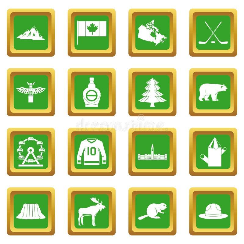 Iconos del viaje de Canadá fijados verdes libre illustration