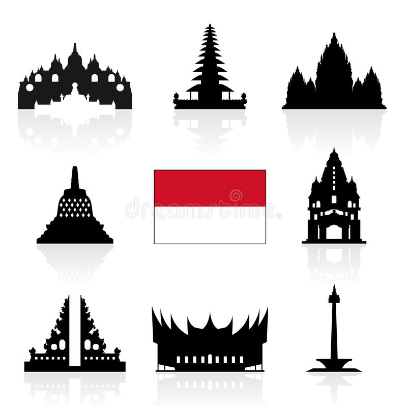 Iconos del viaje de Indonesia ilustración del vector