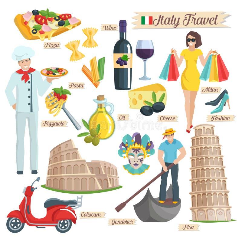 Iconos del viaje de la cultura de Italia fijados ilustración del vector