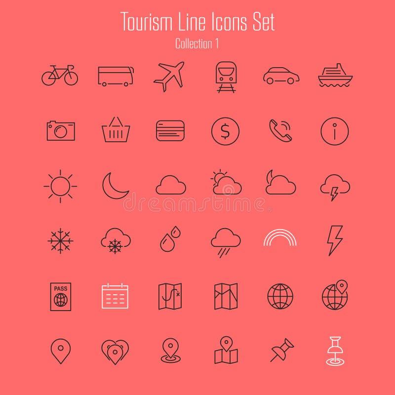 Iconos del viaje, del turismo y del tiempo, sistema 1 stock de ilustración