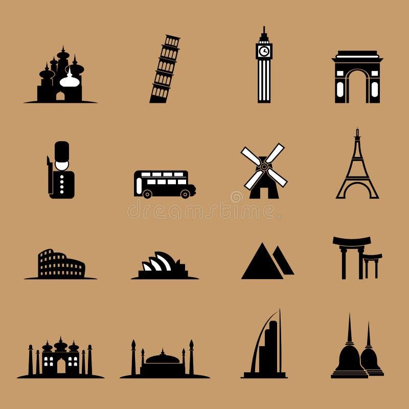 Iconos del viaje fijados ilustración del vector