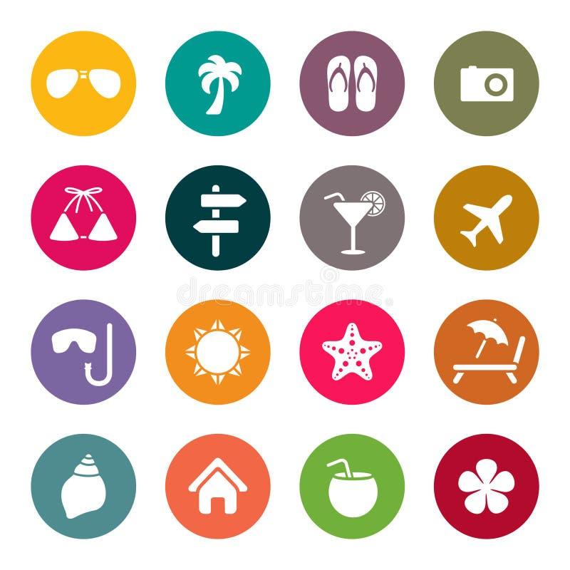 Iconos del viaje y de las vacaciones stock de ilustración