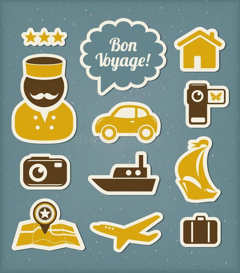 Iconos Del Viaje Y De Las Vacaciones Fijados Imagen de archivo libre de regalías