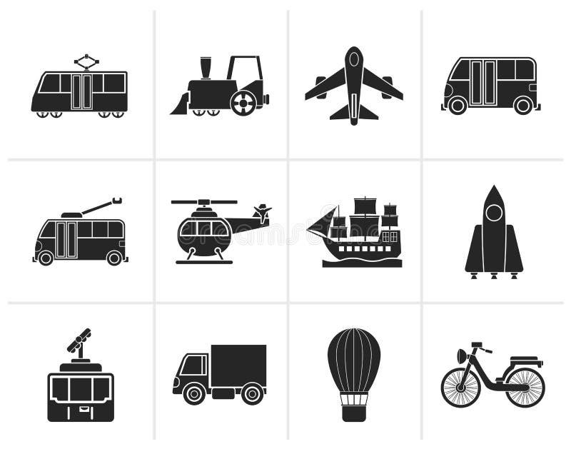 Iconos del viaje y del transporte de la silueta ilustración del vector