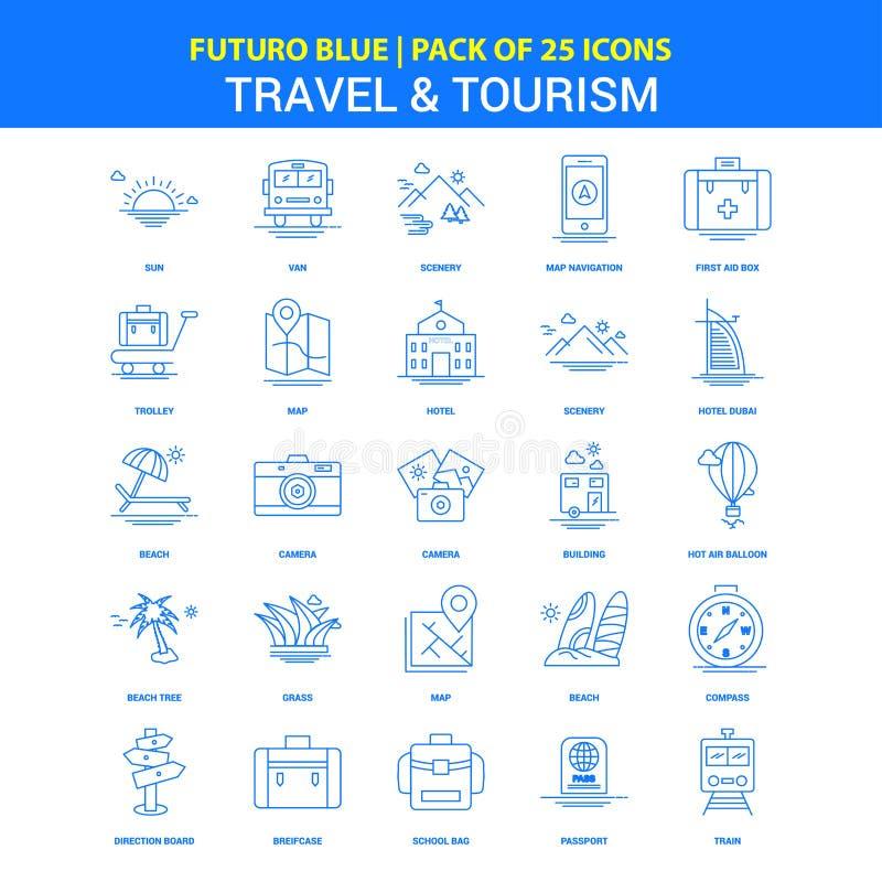 Iconos del viaje y del turismo - paquete azul de 25 iconos de Futuro ilustración del vector