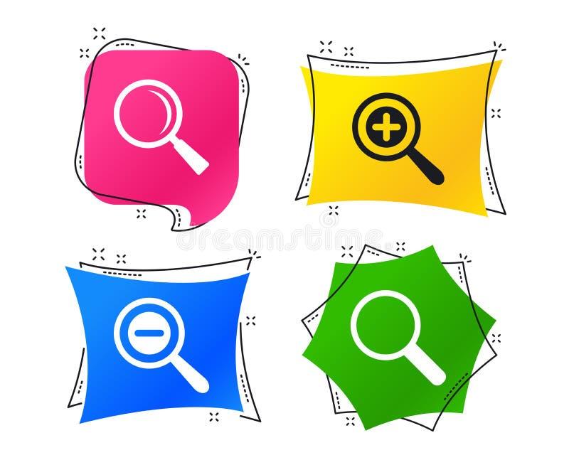 Iconos del vidrio de la lupa Herramienta más y menos del enfoque Vector ilustración del vector
