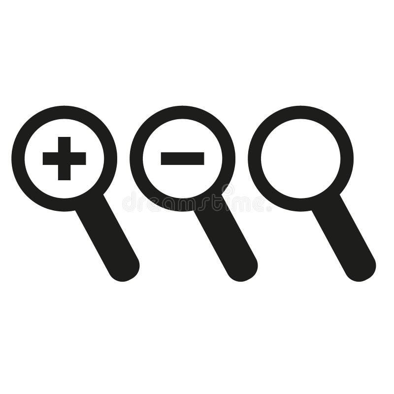 Iconos del vidrio de la lupa Icono del Web ilustración del vector
