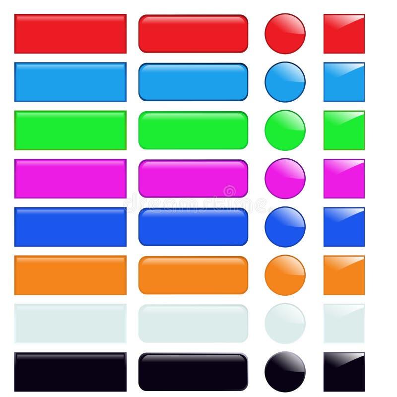 Iconos del vidrio del Web stock de ilustración