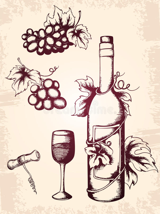 Iconos del vino de la vendimia ilustración del vector