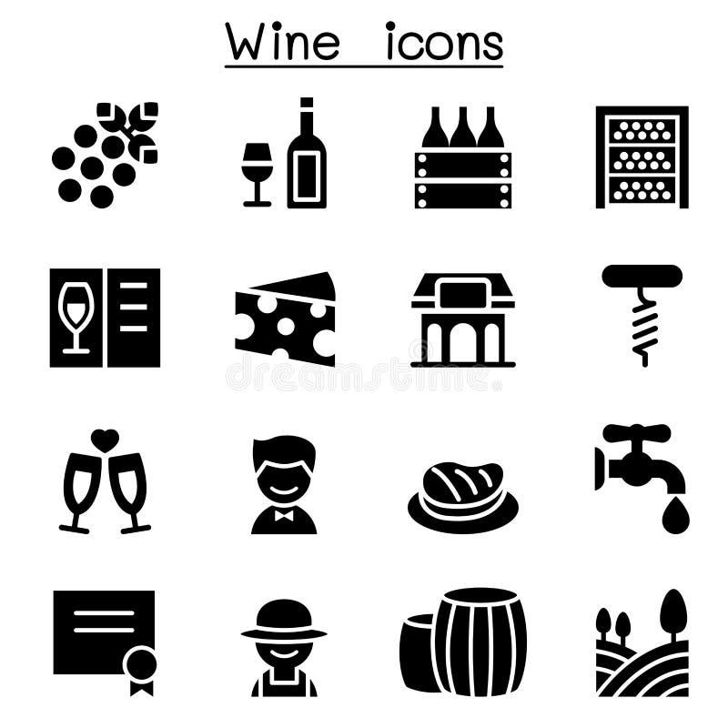 Iconos del vino fijados stock de ilustración