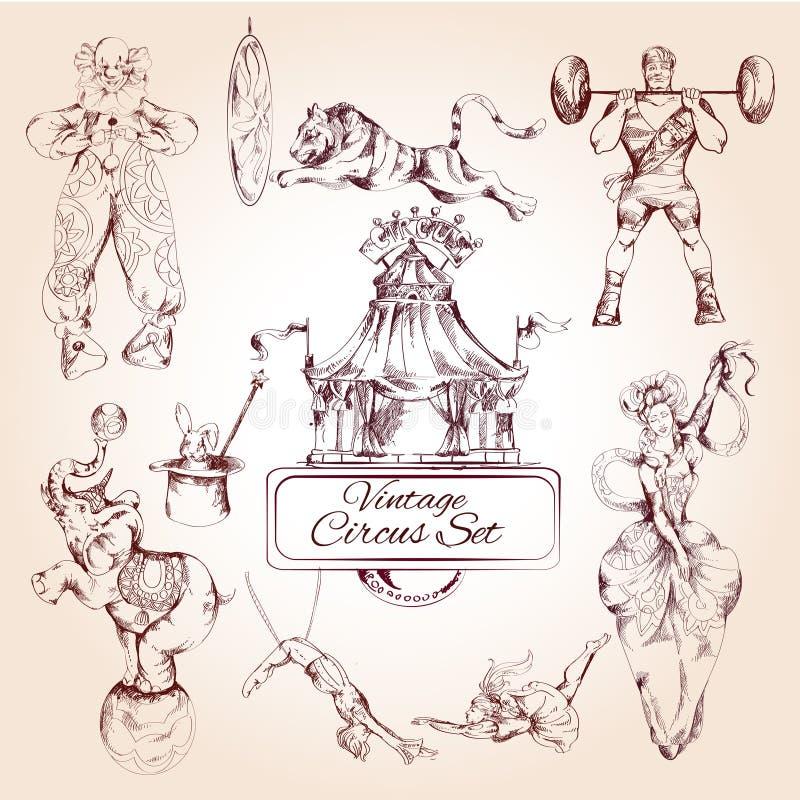 Iconos del vintage del circo fijados stock de ilustración