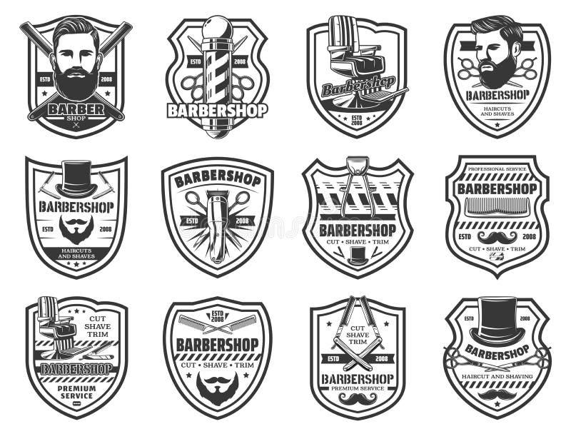 Iconos del vintage del salón del peluquero del hombre de la barbería libre illustration