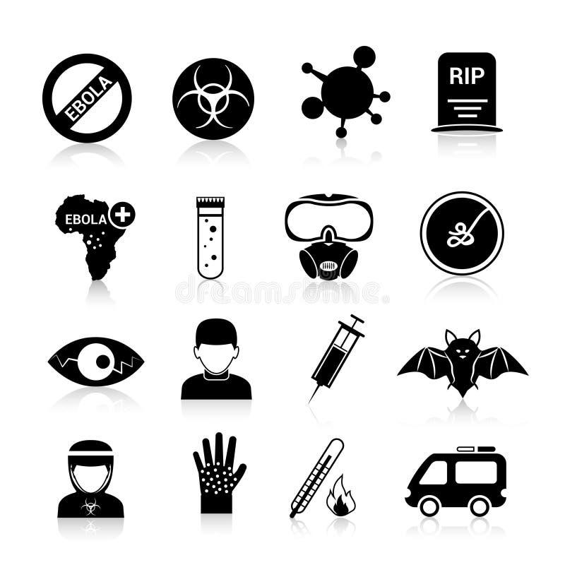 Iconos del virus de Ebola stock de ilustración