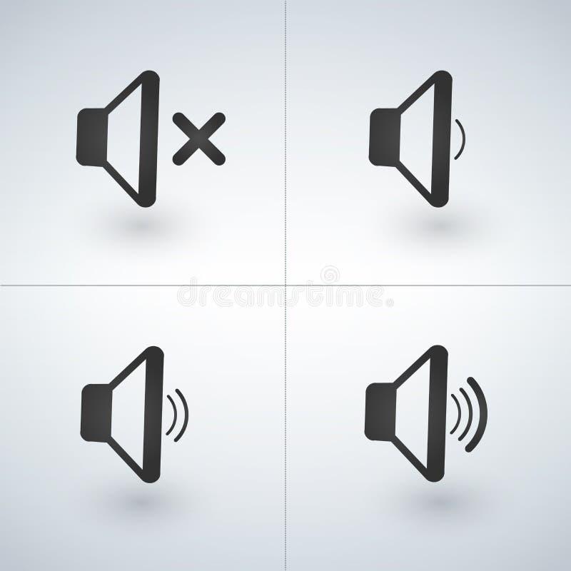 Iconos del volumen del altavoz del volumen o de la música del altavoz de audio ilustración del vector