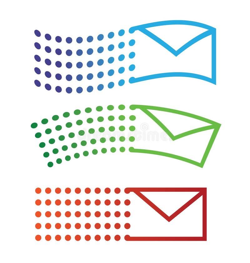 Iconos del vuelo del email stock de ilustración