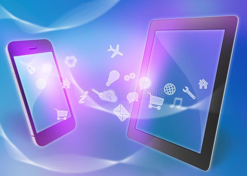 Iconos del vuelo del teléfono móvil en una tableta stock de ilustración