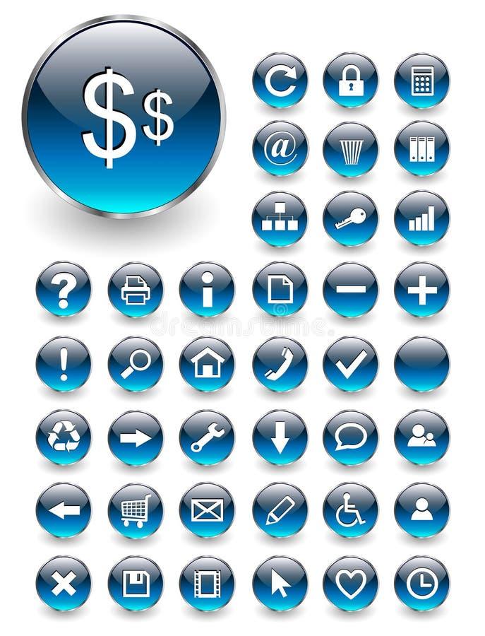 Iconos del Web, botones fijados ilustración del vector