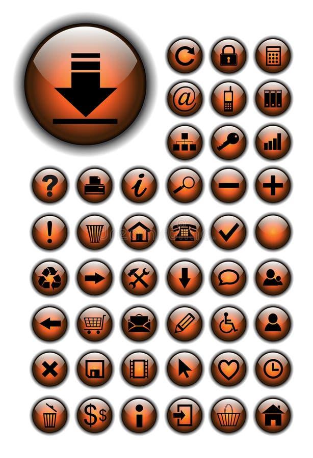 Iconos del Web, botones fijados stock de ilustración