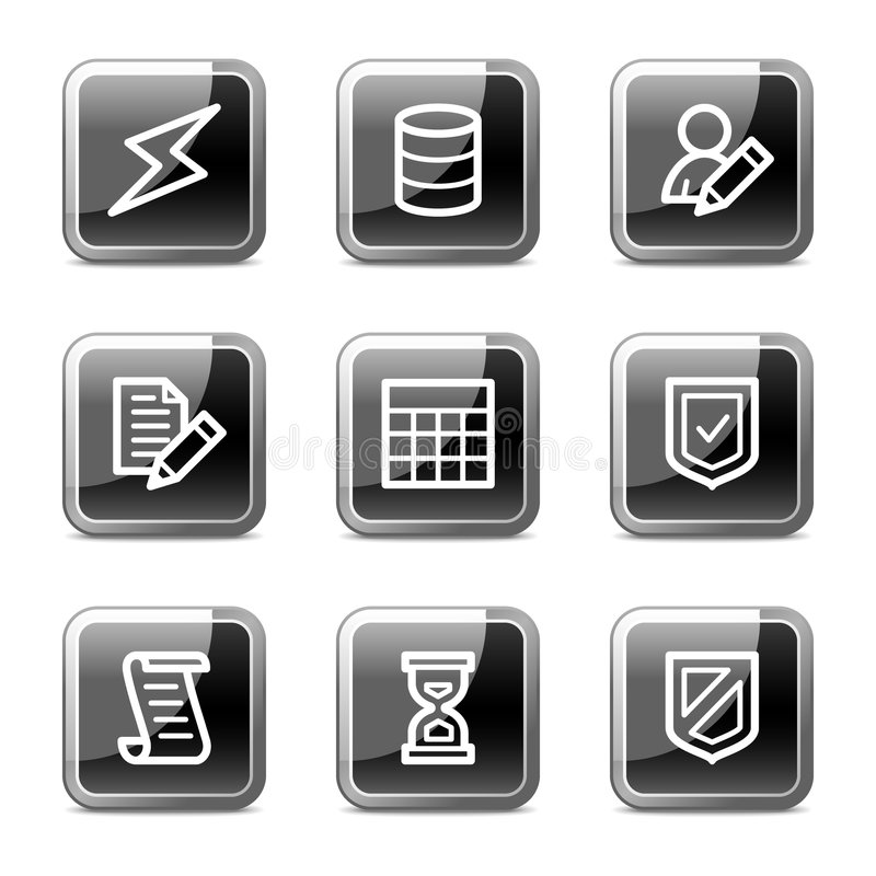 Iconos del Web de Databse, serie brillante de los botones stock de ilustración
