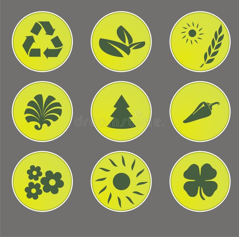 Iconos del Web de Eco ilustración del vector